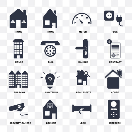 Set Of 16 icons such as Intercom, Leak, Locking, Security camera, House, Home, Building, Handle on transparent background, pixel perfect