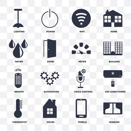 Set Of 16 icons such as Window, Mobile, House, Thermostat, Air conditioner, Lighting, Water, Remote, Meter on transparent background, pixel perfect