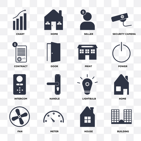 Set Of 16 icons such as Building, House, Meter, Fan, Home, Chart, Contract, Intercom, print on transparent background, pixel perfect