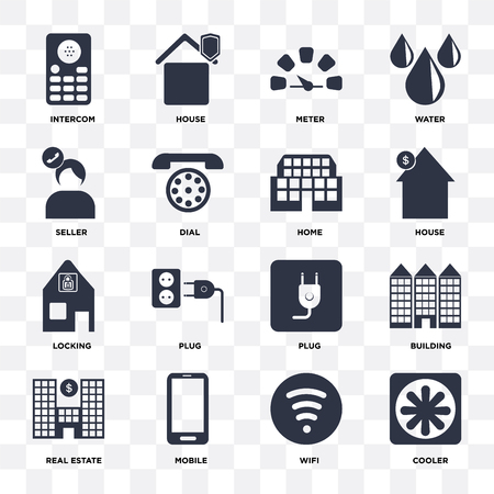 Set Of 16 icons such as Cooler, Wifi, Mobile, Real estate, Building, Intercom, Seller, Locking, Home on transparent background, pixel perfect 向量圖像