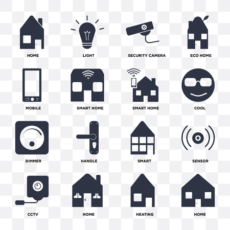 Set Of 16 icons such as Home, Heating, Cctv, Sensor, Mobile, Dimmer, Smart home on transparent background, pixel perfect