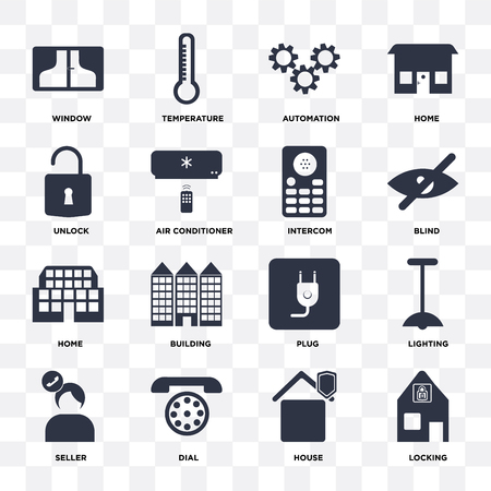Set Of 16 icons such as Locking, House, Dial, Seller, Lighting, Window, Unlock, Home, Intercom on transparent background, pixel perfect