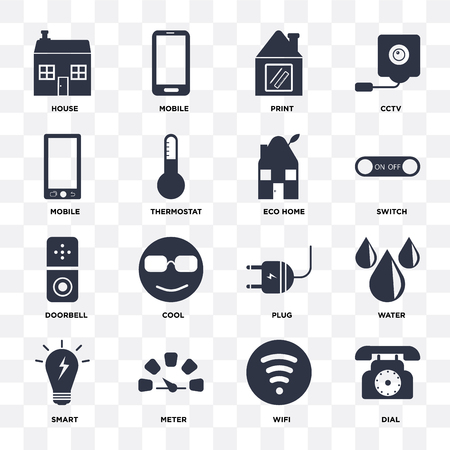 Set Of 16 icons such as Dial, Wifi, Meter, Smart, Water, House, Mobile, Doorbell, Eco home on transparent background, pixel perfect