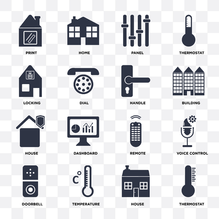 Set Of 16 icons such as Thermostat, House, Temperature, Doorbell, Voice control, print, Locking, Handle on transparent background, pixel perfect
