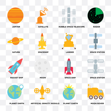 Set Of 16 icons such as Moon rover, Planet earth, Artificial gravity modulo, Space station, Jupiter, Saturn, Rocket ship, Lander on transparent background, pixel perfect