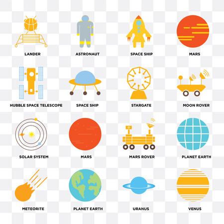 Set Of 16 icons such as Venus, Uranus, Planet earth, Meteorite, Lander, Hubble space telescope, Solar system, Stargate on transparent background, pixel perfect Illustration