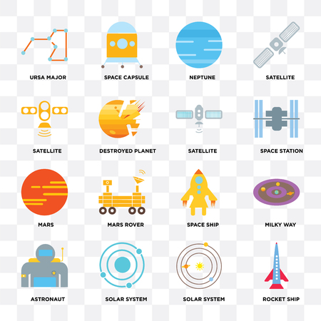 Set Of 16 icons such as Rocket ship, Solar system, Astronaut, Milky way, Ursa major, Satellite, Mars on transparent background, pixel perfect