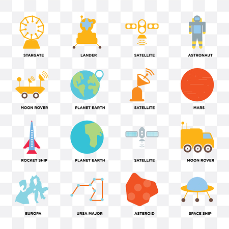 Set Of 16 icons such as Space ship, Asteroid, Ursa major, Europa, Moon rover, Stargate, Rocket Satellite on transparent background, pixel perfect