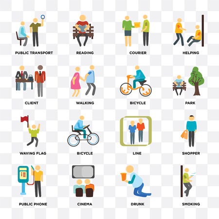 Set Of 16 icons such as Smoking, Drunk, Cinema, Public phone, Shopper, transport, Client, Waving flag, Bicycle on transparent background, pixel perfect
