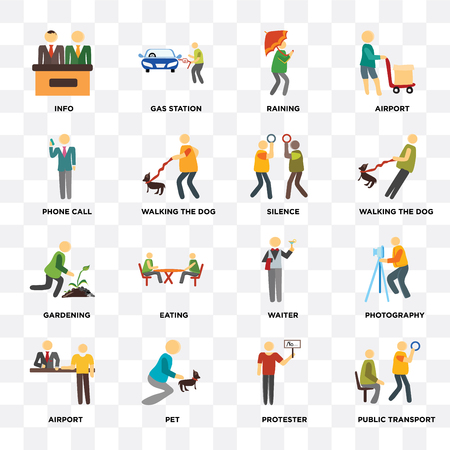 Set Of 16 icons such as Public transport, Protester, Pet, Airport, Photography, Info, Phone call, Gardening, Silence on transparent background, pixel perfect