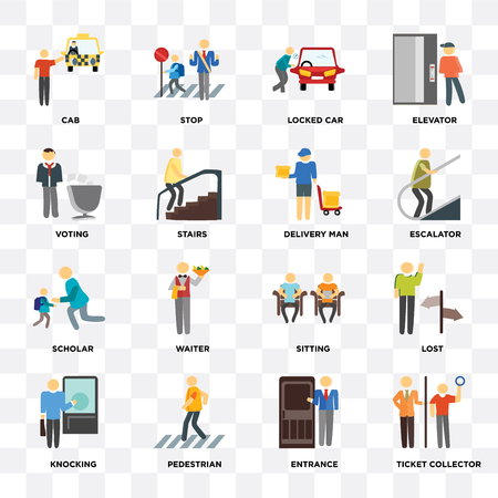 Set Of 16 icons such as Ticket collector, Entrance, Pedestrian, Knocking, Lost, Cab, Voting, Scholar, Delivery man on transparent background, pixel perfect Illustration