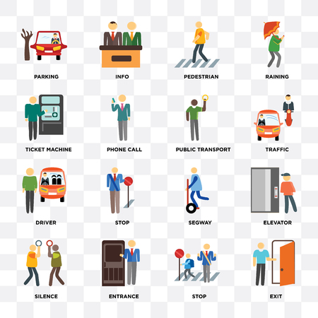 Set Of 16 icons such as Exit, Stop, Entrance, Silence, Elevator, Parking, Ticket machine, Driver, Public transport on transparent background, pixel perfect