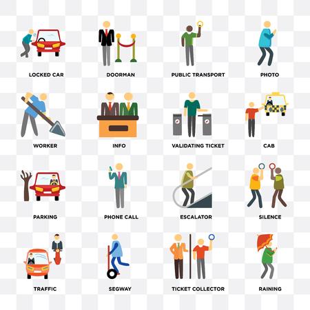 Ensemble de 16 icônes telles que pleuvoir, collecteur de billets, trafic, silence, voiture verrouillée, travailleur, stationnement, validation de billet sur fond transparent, pixel parfait Vecteurs