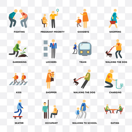 Set Of 16 icons such as Eating, Walking to school, Occupant, Skater, Charging, Fighting, Gardening, Kids, Train on transparent background, pixel perfect Illustration