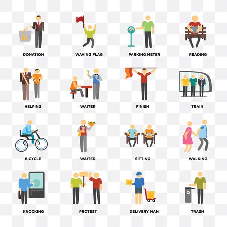 Ensemble de 16 icônes telles que Trash, Delivery man, Protest, Knocking, Walking, Donation, Helping, Bicycle, Finish sur fond transparent, pixel perfect