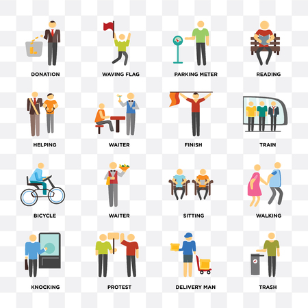 Set Of 16 icons such as Trash, Delivery man, Protest, Knocking, Walking, Donation, Helping, Bicycle, Finish on transparent background, pixel perfect