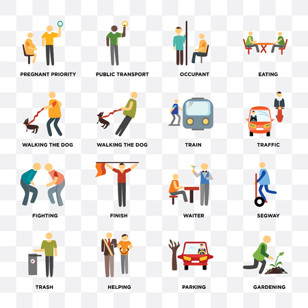 Set Of 16 icons such as Gardening, Parking, Helping, Trash, Pregnant priority, Walking the , Fighting, Train on transparent background, pixel perfect