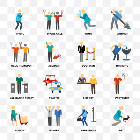 Set Of 16 icons such as Pet, Pedestrian, Winner, Airport, Protester, Photo, Public transport, Validating ticket, Doorman on transparent background, pixel perfect