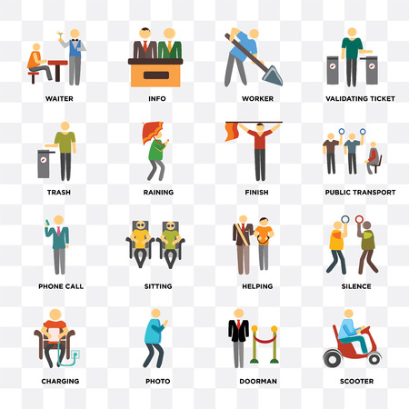 Set Of 16 icons such as Scooter, Doorman, Photo, Charging, Silence, Waiter, Trash, Phone call, Finish on transparent background, pixel perfect