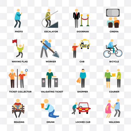 Set Of 16 icons such as Walking, Locked car, Drunk, Reading, Courier, Photo, Waving flag, Ticket collector, Cab on transparent background, pixel perfect
