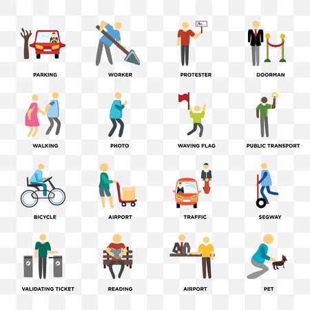 Set Of 16 icons such as Pet, Airport, Reading, Validating ticket, Parking, Walking, Bicycle, Waving flag on transparent background, pixel perfect