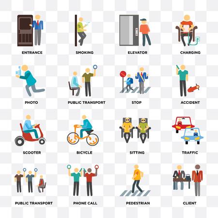 Ensemble de 16 icônes telles que client, piéton, appel téléphonique, transports publics, trafic, entrée, photo, scooter, arrêt sur fond transparent, pixel parfait