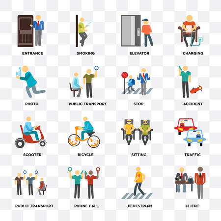 Set Of 16 icons such as Client, Pedestrian, Phone call, Public transport, Traffic, Entrance, Photo, Scooter, Stop on transparent background, pixel perfect