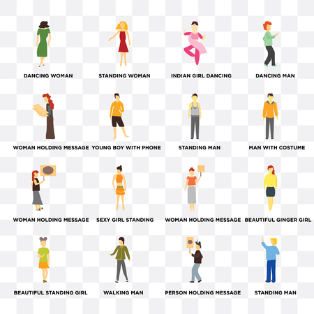 Set Of 16 transparent icons such as Standing Man, Young boy with phone, Walking man, Beautiful standing girl, ginger dancing web UI icon pack, pixel perfect Illustration