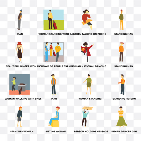 Set Of 16 transparent icons such as Indian dancer girl, Crowd of people talking, Sitting woman, standing Standing person, man on transparent background, pixel perfect Illustration