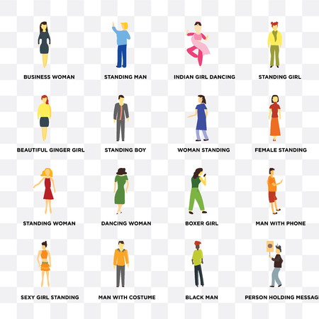 Set Of 16 transparent icons such as Person holding message, Black man, Business woman, Sexy girl standing, Man with phone, Boxer girl, indian dancing on transparent background, pixel perfect