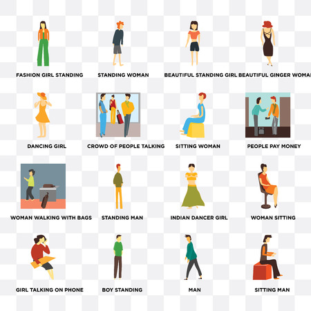 Set Of 16 transparent icons such as Sitting man, Crowd of people talking, Boy standing, Girl talking on phone, Woman sitting, Beautiful ginger woman on transparent background, pixel perfect Illustration