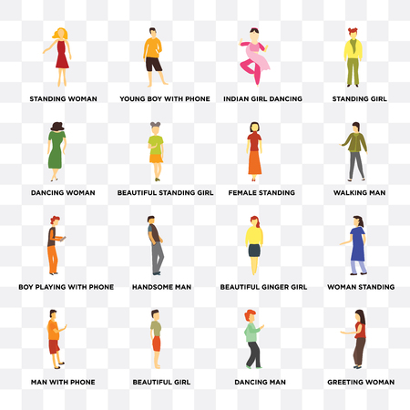 Conjunto de 16 iconos transparentes como saludo a mujer, hermosa niña de pie, hombre con teléfono, mujer de pie, paquete de iconos de interfaz de usuario web permanente, píxel perfecto