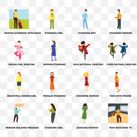 Set Of 16 transparent icons such as Man watching TV, woman standing, Standing girl, Person holding message, with phone, person on transparent background, pixel perfect