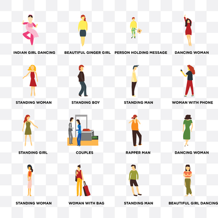 Set Of 16 transparent icons such as Beautiful girl dancing, Standing boy, Woman with bag, woman, Dancing web UI icon pack, pixel perfect Illustration