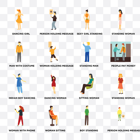 Set Of 16 transparent icons such as Person holding message, Woman sitting, with phone, Standing woman on transparent background, pixel perfect Illustration