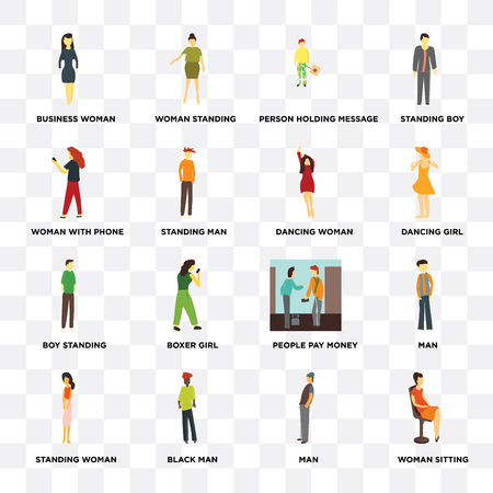 Set Of 16 icons such as Woman sitting, Man, Black man, Standing woman, Business with phone, Boy standing, Dancing web UI editable icon pack, pixel perfect Illustration