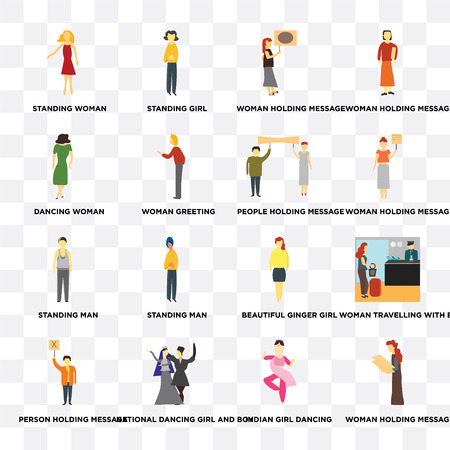 Set Of 16 transparent icons such as Woman holding message, indian girl dancing, National dancing and boy, Person Dancing woman on transparent background, pixel perfect