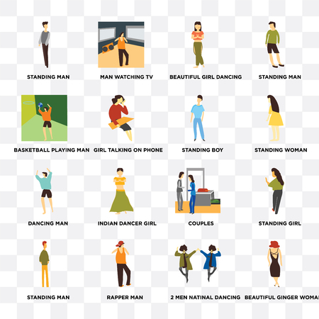 Set Of 16 transparent icons such as Beautiful ginger woman, Girl talking on phone, rapper man, Standing girl on transparent background, pixel perfect Illustration