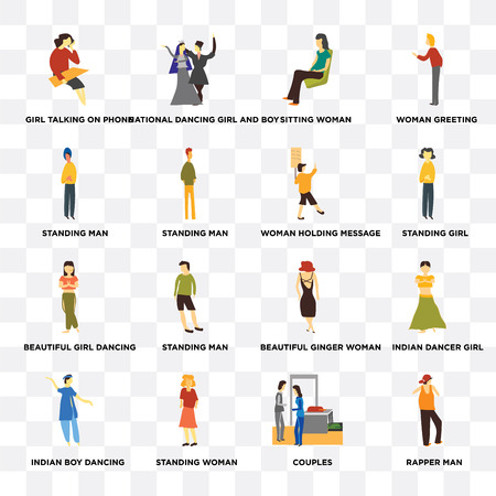 Set Of 16 transparent icons such as rapper man, Standing woman, indian boy dancing, Indian dancer girl, Woman greeting on transparent background, pixel perfect