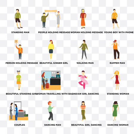 Set Of 16 transparent icons such as Dancing woman, Beautiful ginger girl, dancing man, Couples, Standing Young boy with phone on transparent background, pixel perfect
