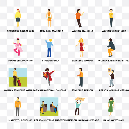 Set Of 16 transparent icons such as Dancing woman, Standing Man, Persons sitting and working, Man with costume, Person holding message, Woman phone on transparent background, pixel perfect
