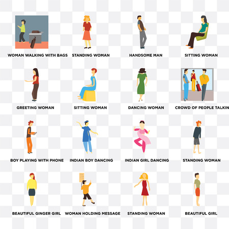 Set Of 16 transparent icons such as Beautiful girl, Sitting woman, Woman holding message, ginger standing web UI icon pack, pixel perfect