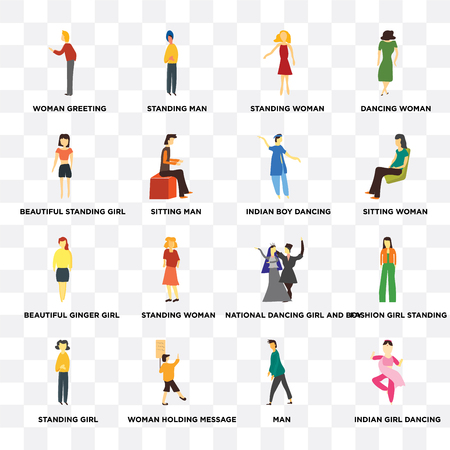 Set Of 16 transparent icons such as indian girl dancing, Sitting man, Woman holding message, Standing girl, Fashion standing, Dancing woman on transparent background, pixel perfect Illustration