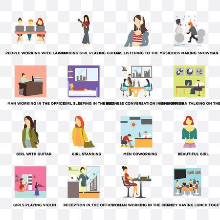 Set Of 16 transparent icons such as Family having lunch together, Woman working in the office, Reception Girl sleeping bed on transparent background, pixel perfect Иллюстрация