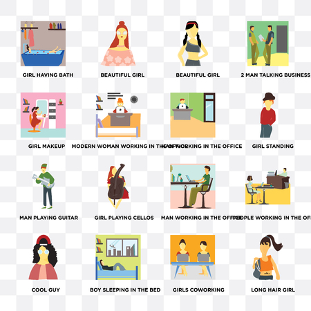 Set Of 16 transparent icons such as Long hair girl, Girls coworking, Boy sleeping in the bed, Cool guy, Girl makeup on transparent background, pixel perfect