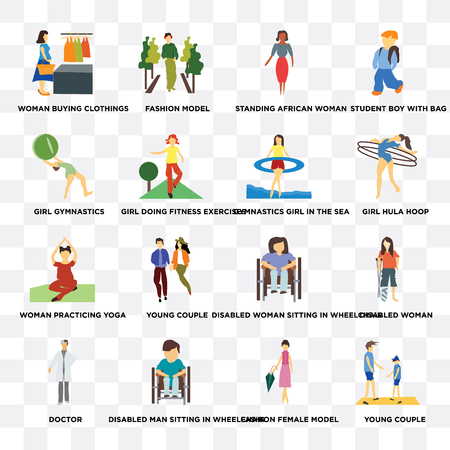 Set Of 16 transparent icons such as Young couple, Fashion female model, Disabled man sitting in wheelchair, doctor, Girl gymnastics on transparent background, pixel perfect