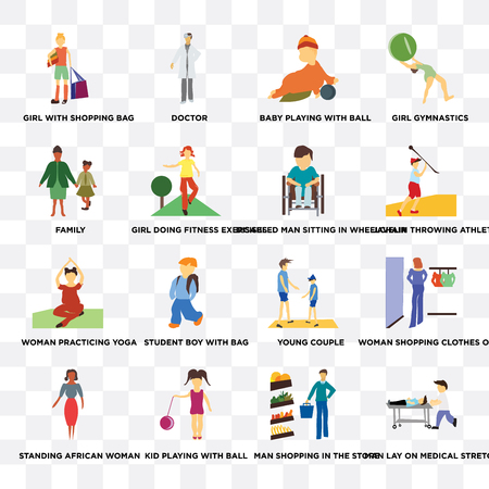 Set Of 16 transparent icons such as Man lay on medical stretcher, shopping in the store, Kid playing with ball, standing African woman, family on transparent background, pixel perfect
