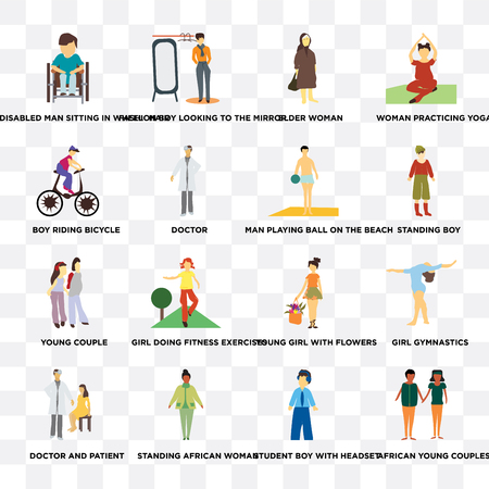 Set Of 16 transparent icons such as african young couples, doctor, standing African woman, doctor and patient, Girl gymnastics, Woman practicing yoga on transparent background, pixel perfect