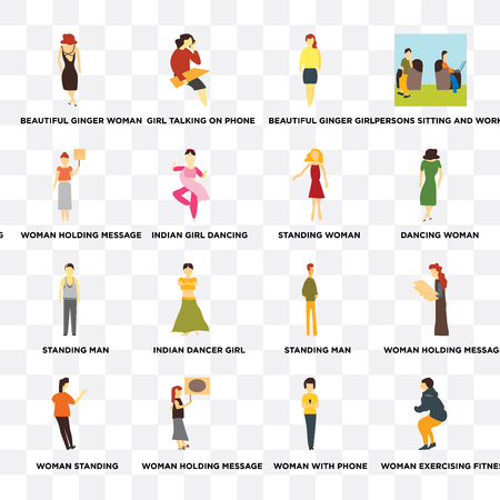 Set Of 16 transparent icons such as Woman exercising fitness, with phone, holding message, standing on transparent background, pixel perfect Illustration
