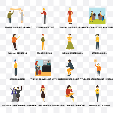 Set Of 16 transparent icons such as Woman with phone, Girl talking on Beautiful ginger woman, National dancing girl and boy, standing on transparent background, pixel perfect Illustration